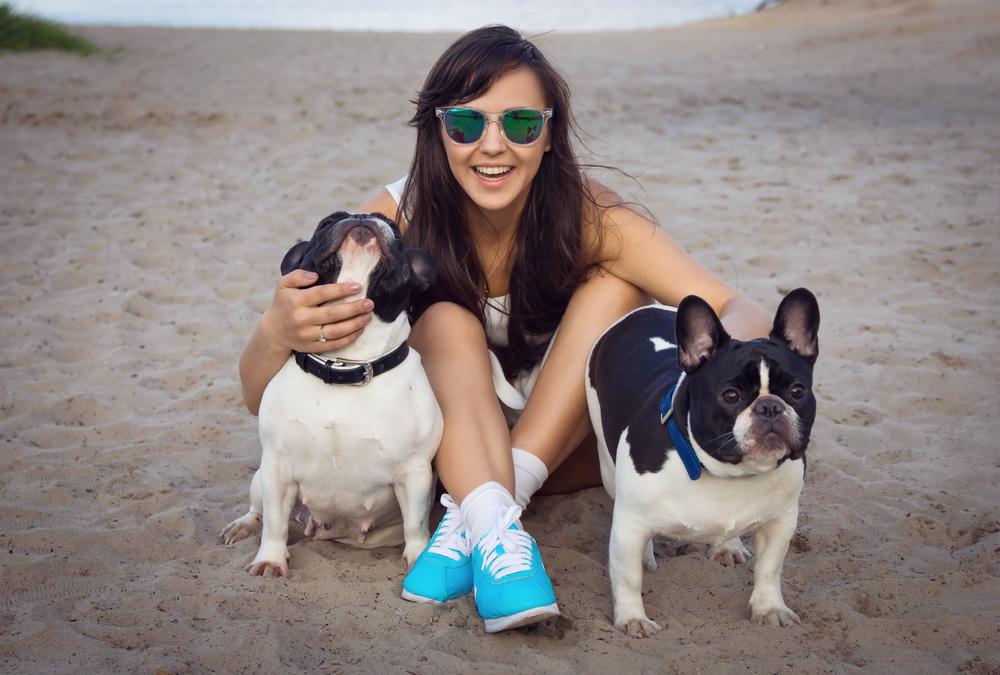 Franzoesische Bulldogge mit Frauchen